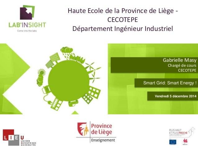 Gabrielle Masy  Chargé de cours  CECOTEPE  Haute Ecole de la Province de Liège -  CECOTEPE  Département Ingénieur Industri...