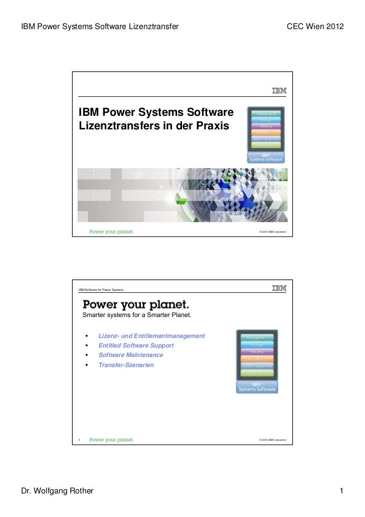 IBM Power Systems Software Lizenztransfer                                                CEC Wien 2012               IBM P...