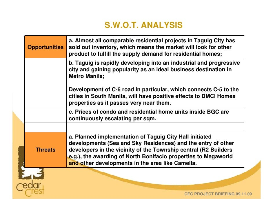 swot of ayala corporation 2018-5-20 vision we are the dominant community developer in the economic housing sector mission and values we are committed to raise the living standards of the majority of working class filipinos.