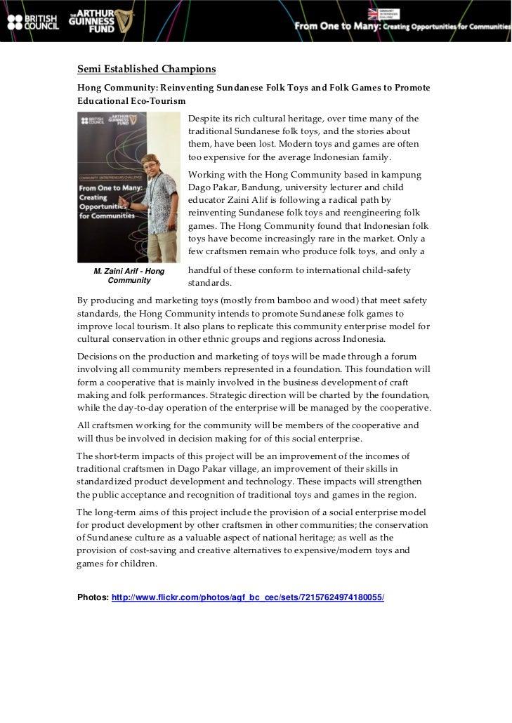 SemiEstablishedChampionsHongCommunity:ReinventingSundaneseFolkToysandFolkGamestoPromoteEducationalEco‐Touri...