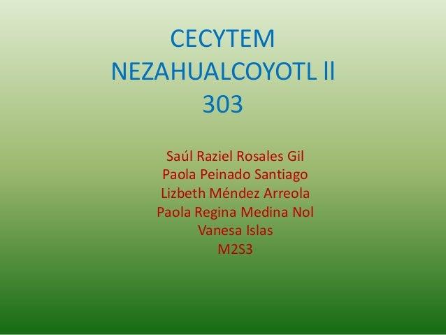 CECYTEM  NEZAHUALCOYOTL ll  303  Saúl Raziel Rosales Gil  Paola Peinado Santiago  Lizbeth Méndez Arreola  Paola Regina Med...