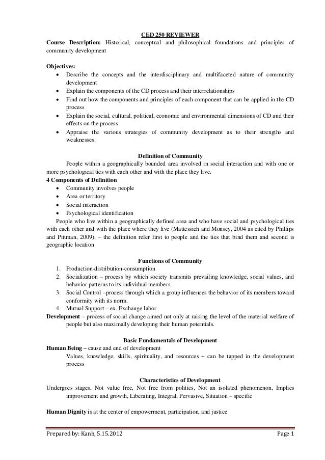 Prepared by: Kanh, 5.15.2012 Page 1 CED 250 REVIEWER Course Description: Historical, conceptual and philosophical foundati...