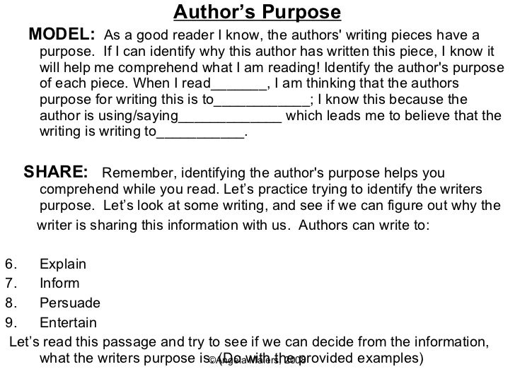 Critical Literacy – Author Purpose Worksheet