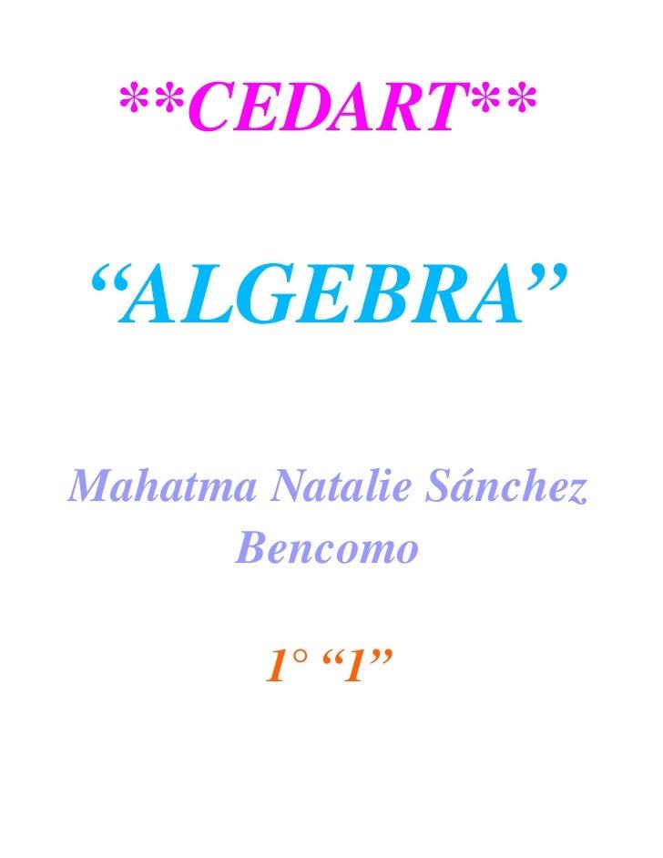 "**CEDART**  ""ALGEBRA""  MahatmaNatalieSánchez        Bencomo           1°""1"""