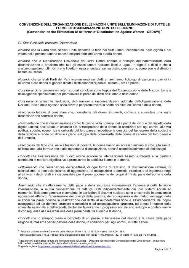 CONVENZIONE DELL'ORGANIZZAZIONE DELLE NAZIONI UNITE SULL'ELIMINAZIONE DI TUTTE LE                         FORME DI DISCRIM...