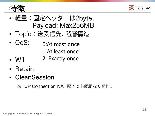 Copyright Drecom Co., Ltd. All Rights Reserved. 28 特徴 • 軽量:固定ヘッダーは2byte, Payload: Max256MB • Topic:送受信先. 階層構造 • QoS: • Wil...