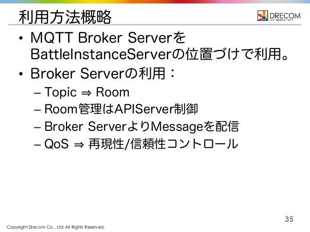 Copyright Drecom Co., Ltd. All Rights Reserved. 35 利用方法概略 • MQTT Broker Serverを BattleInstanceServerの位置づけで利用。 • Broker Ser...