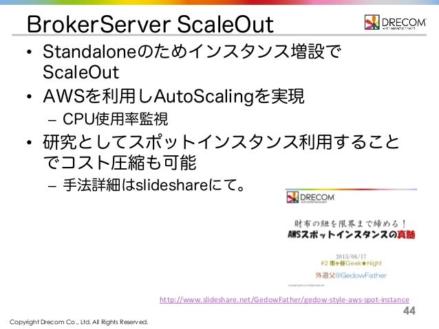 Copyright Drecom Co., Ltd. All Rights Reserved. 44 BrokerServer ScaleOut • Standaloneのためインスタンス増設で ScaleOut • AWSを利用しAutoSc...
