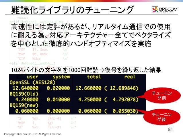 Copyright Drecom Co., Ltd. All Rights Reserved. 81 難読化ライブラリのチューニング 1024バイトの文字列を1000回難読->復号を繰り返した結果 チューニン グ前 チューニン グ後 高速性には...