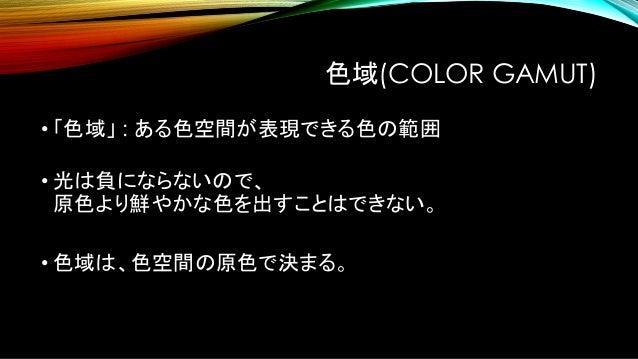 CIE1931XYZ色空間 全ての色を含む。 → 色域が最も広い 様々な色空間の 大元になる色空間。