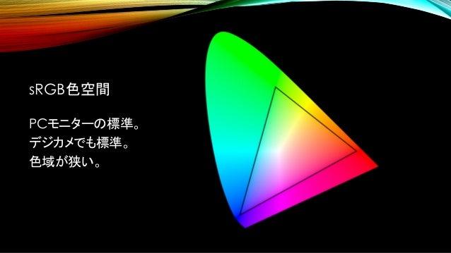 AdobeRGB色空間 sRGB色空間よりも、緑が広い。 規定がとても細かい。 青と赤はsRGBと同じ。