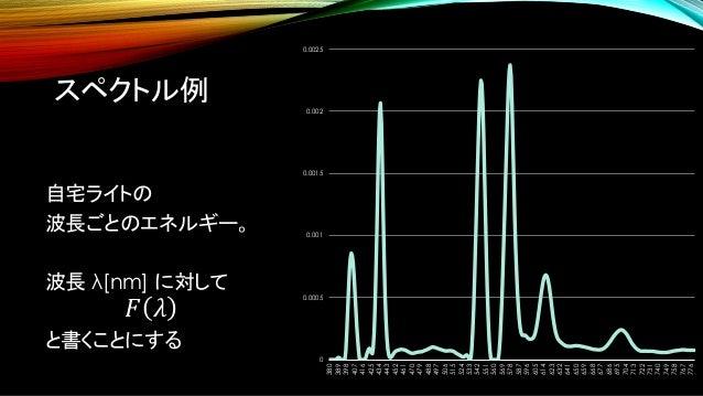 スペクトル例 自宅ライトの 波長ごとのエネルギー。 波長 λ[nm] に対して 𝐹 𝜆 と書くことにする 0 0.0005 0.001 0.0015 0.002 0.0025 380 389 398 407 416 425 434 443 45...