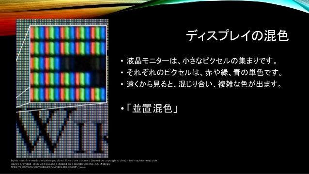 """色空間の調べ方 • まず規定の名前 + """"primaries xy"""" などでググってみましょう。 • 日本語のWikipediaは間違いが多いです。 例えば、sRGBと CIERGBを混同している。 • 英語のWikipediaは比較的正しい。..."""