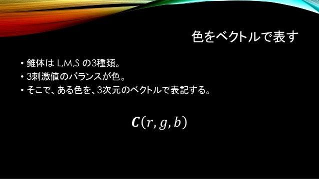 色をベクトルで表す • 錐体は L,M,S の3種類。 • 3刺激値のバランスが色。 • そこで、ある色を、3次元のベクトルで表記する。 𝑪 𝑟, 𝑔, 𝑏