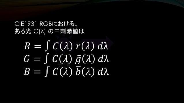 光源 CIE1931 RGBにおける、 ある光 C(λ) の三刺激値は 𝑅 = ∫ 𝐶 𝜆 ҧ𝑟 𝜆 𝑑λ 𝐺 = ∫ 𝐶 𝜆 ҧ𝑔 𝜆 𝑑λ 𝐵 = ∫ 𝐶 𝜆 ത𝑏 𝜆 𝑑λ