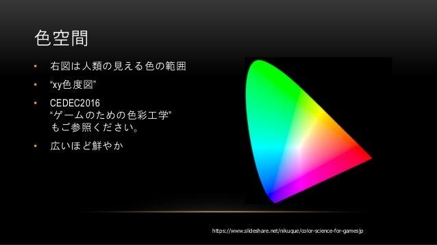 """• 右図は人類の見える色の範囲 • """"xy色度図"""" • CEDEC2016 """"ゲームのための色彩工学"""" もご参照ください。 • 広いほど鮮やか 色空間 https://www.slideshare.net/nikuque/color-scien..."""