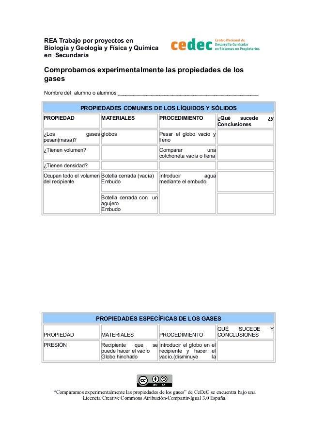 REA Trabajo por proyectos en Biología y Geología y Física y Química en Secundaria  Comprobamos experimentalmente las propi...