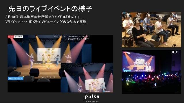 © 2018 pulse.Inc 先日のライブイベントの様子 8月10日 岩本町芸能社所属VRアイドル「えのぐ」 VR・Youtube・UDXライブビューイングの 3会場で実施 UDX VR