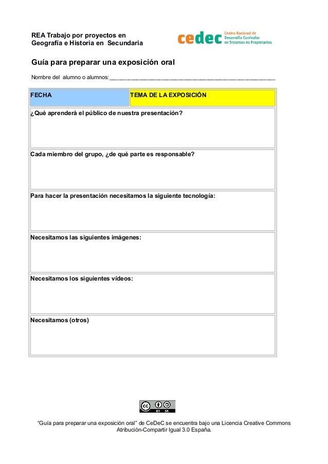 REA Trabajo por proyectos en Geografía e Historia en Secundaria  Guía para preparar una exposición oral Nombre del alumno ...