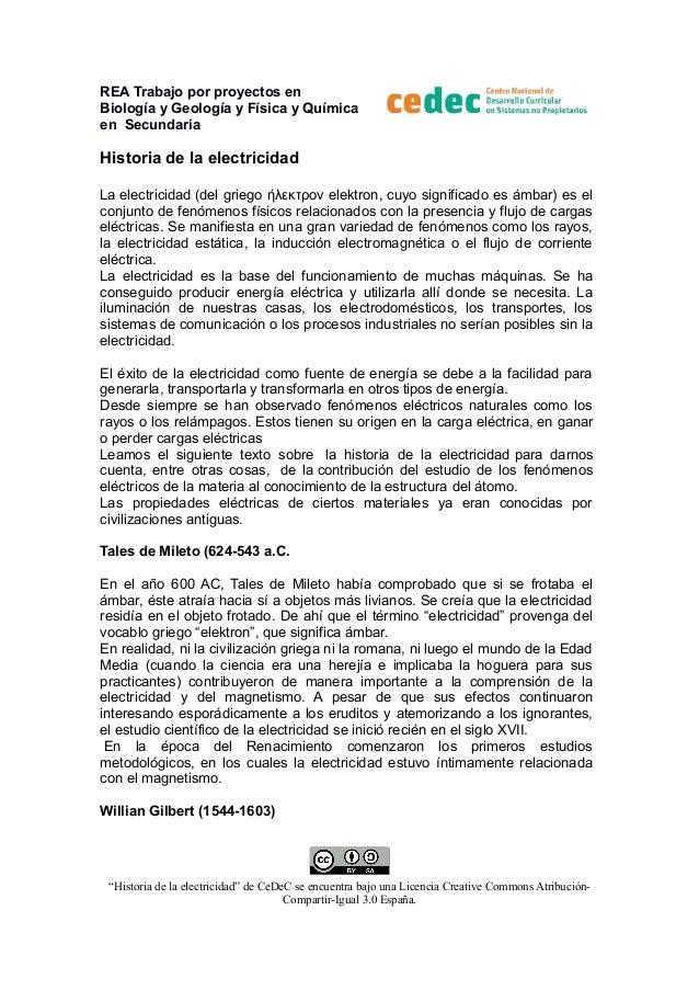 REA Trabajo por proyectos en Biología y Geología y Física y Química en Secundaria  Historia de la electricidad La electric...
