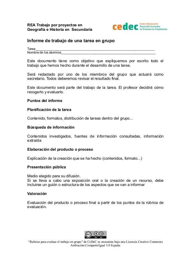 REA Trabajo por proyectos en Geografía e Historia en Secundaria  Informe de trabajo de una tarea en grupo Tarea___________...