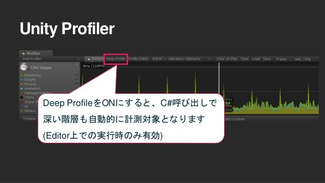 Unity Profiler Deep ProfileをONにすると、C#呼び出しで 深い階層も自動的に計測対象となります (Editor上での実行時のみ有効)