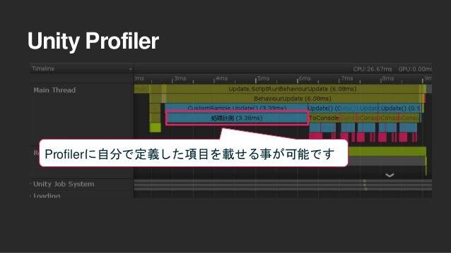 Unity Profiler Profilerに自分で定義した項目を載せる事が可能です