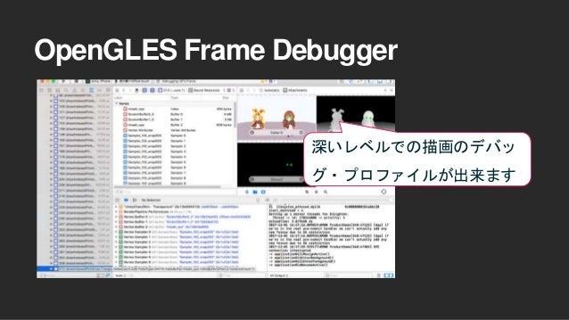 OpenGLES Frame Debugger 深いレベルでの描画のデバッ グ・プロファイルが出来ます