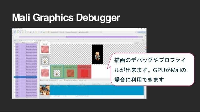 Mali Graphics Debugger 描画のデバッグやプロファイ ルが出来ます。GPUがMaliの 場合に利用できます