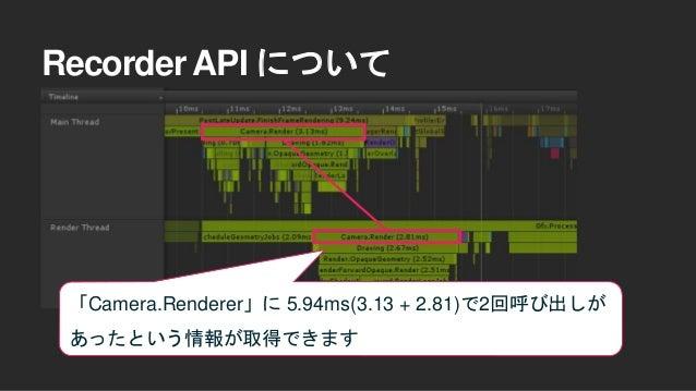 先ほどのMainLoopとうまく組み合わせて … Camera.Renderの合計時間 - Main Thread側の描画処理時間で RenderThreadの処理負荷が概算できます
