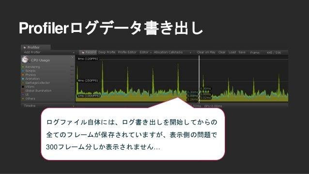 300フレーム問題を解決するために専 用のEditor拡張を作成しました。 リポジトリ https://github.com/wotakuro/ProfilerBinarylogSplit Profilerログデータ書き出し