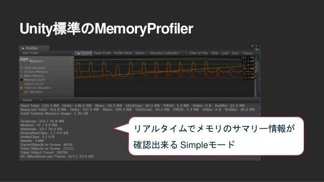 Unity標準のMemoryProfiler メモリのsnapshotをとって、 その時点でのデータを詳細に 閲覧できるDetailedモード