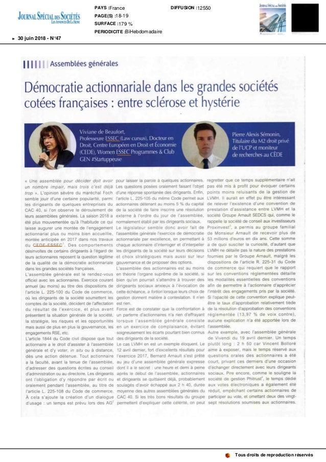 Assembl�es g�n�rales Agenda D�mocratieactionnarialedanslesgrandessoci�t�s cot�esfran�aises: entrescl�roseet hyst�rie Vivia...