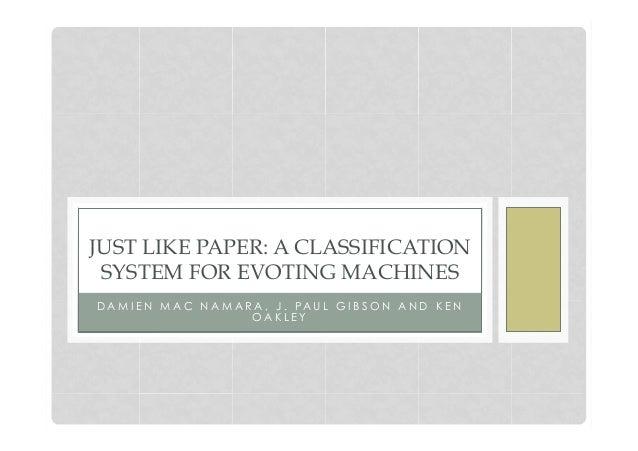 D A M I E N M A C N A M A R A , J . PA U L G I B S O N A N D K E NO A K L E YJUST LIKE PAPER: A CLASSIFICATIONSYSTEM FOR E...