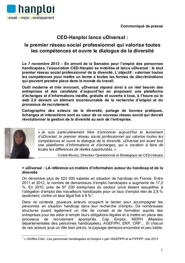 Communiqué de presse  CED-Hanploi lance uDiversal : le premier réseau social professionnel qui valorise toutes les compéte...