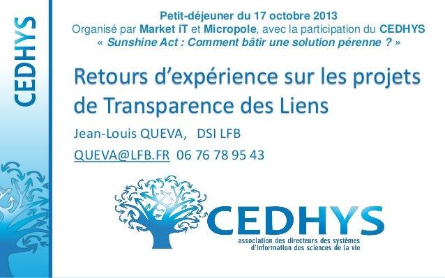 Petit-déjeuner du 17 octobre 2013 Organisé par Market iT et Micropole, avec la participation du CEDHYS « Sunshine Act : Co...
