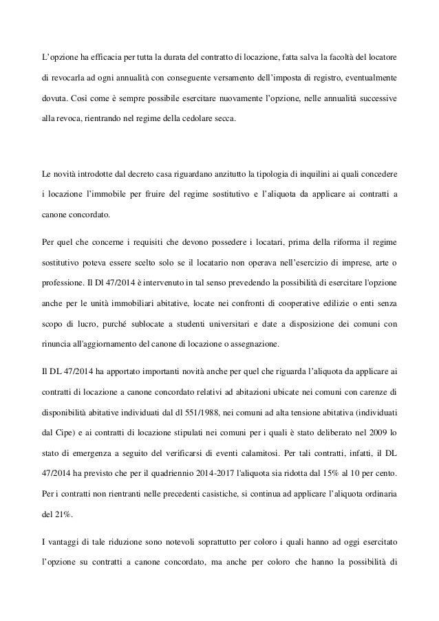 3. Lu0027opzione Ha Efficacia Per Tutta La Durata Del Contratto Di Locazione ...
