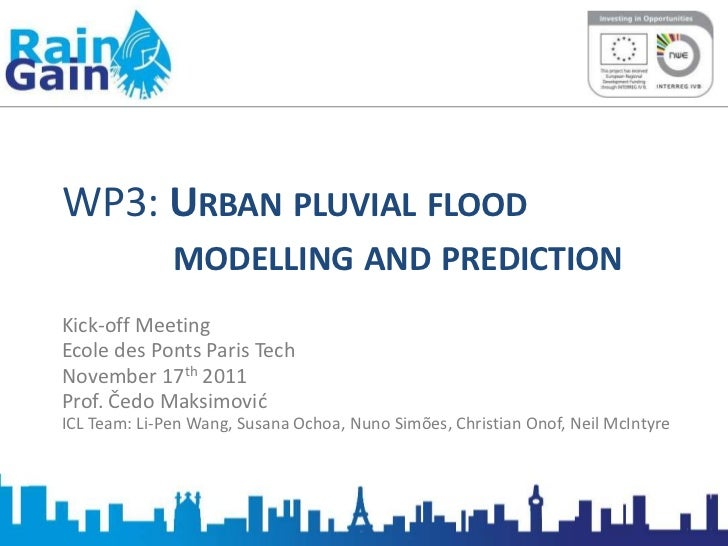 WP3: URBAN PLUVIAL FLOOD              MODELLING AND PREDICTIONKick-off MeetingEcole des Ponts Paris TechNovember 17th 2011...