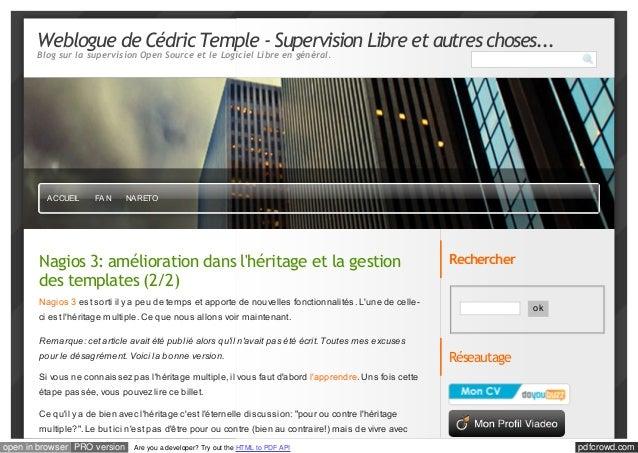 Weblogue de Cédric Temple - Supervision Libre et autres choses...       Blog sur la supervision Open Source et le Logiciel...