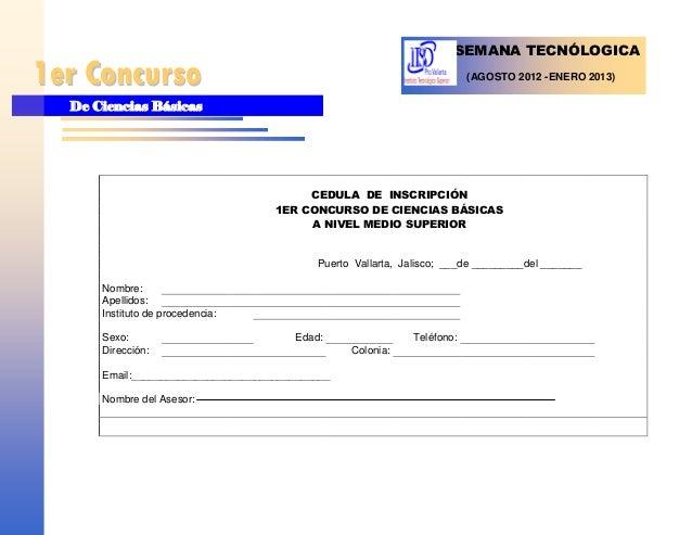 SEMANA TECNÓLOGICA1er Concurso                                                             (AGOSTO 2012 -ENERO 2013)  De C...