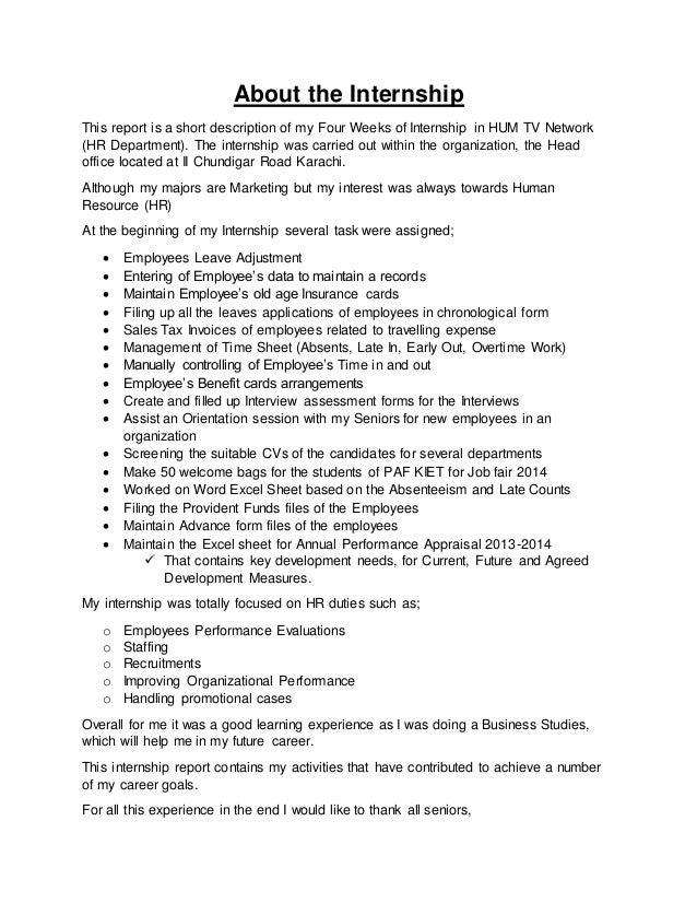 Short internship report