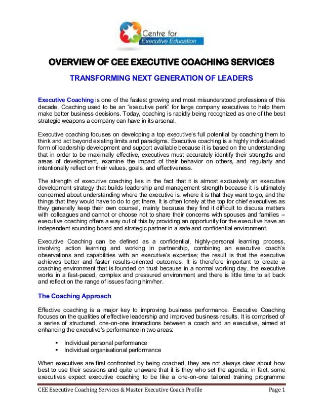 CEE Executive Coaching Services & Master Executive Coach Profile Page 1 OVERVIEW OF CEE EXECUTIVE COACHING SERVICES TRANSF...
