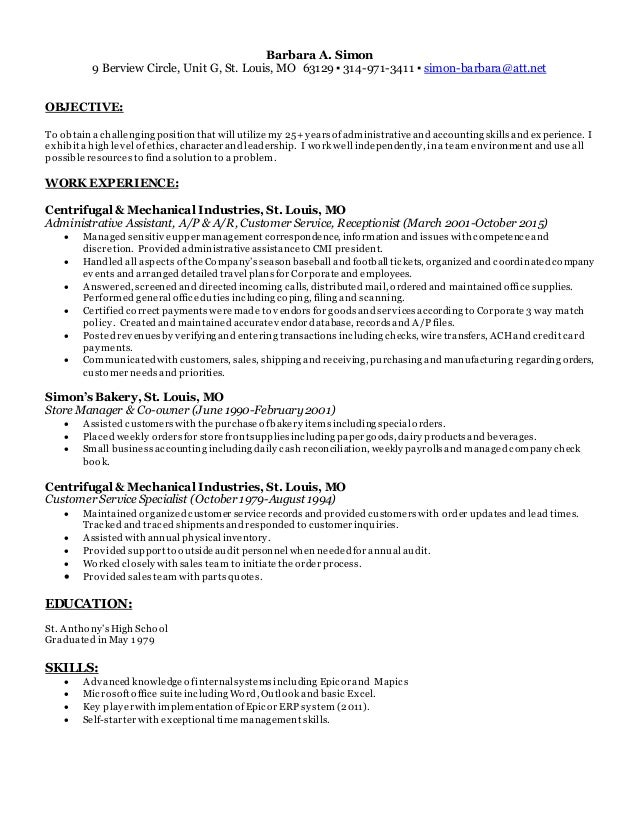 Fine St Louis Accounting Resume Pictures - Administrative Officer ...