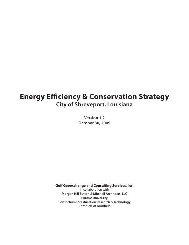 Energy Efficiency & Conservation Strategy          City of Shreveport, Louisiana                           Version 1.2    ...