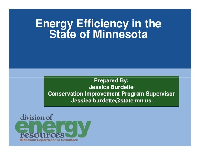 Energy Efficiency in the  State of Minnesota                   Prepared By:                 Jessica Burdette  Conservation...