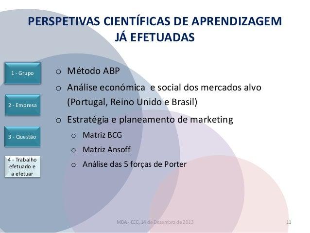 PERSPETIVAS CIENTÍFICAS DE APRENDIZAGEM JÁ EFETUADAS 1 - Grupo  2 - Empresa  o Método ABP o Análise económica e social dos...