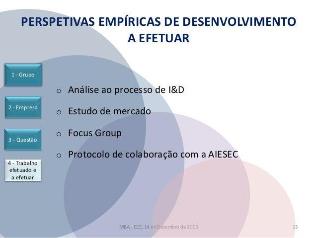 PERSPETIVAS EMPÍRICAS DE DESENVOLVIMENTO A EFETUAR 1 - Grupo  o Análise ao processo de I&D 2 - Empresa  3 - Questão  4 - T...