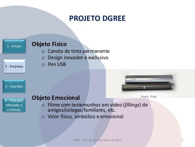 PROJETO DGREE  1 - Grupo  2 - Empresa  Objeto Físico o Caneta de tinta permanente o Design inovador e exclusivo o Pen USB ...