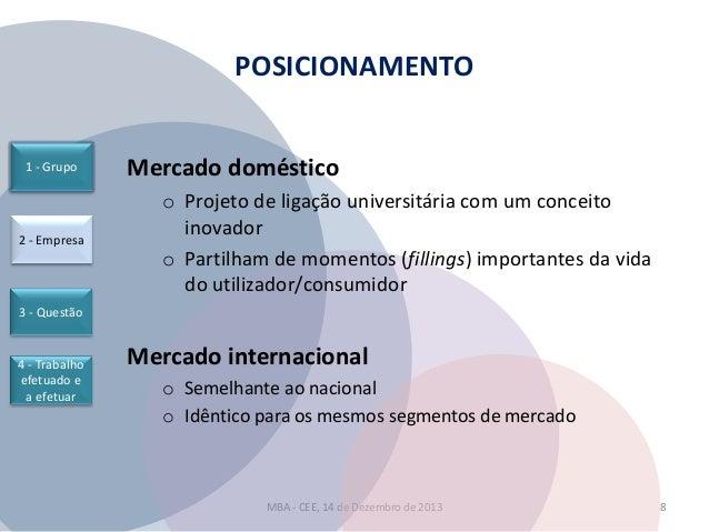 POSICIONAMENTO  1 - Grupo  2 - Empresa  Mercado doméstico o Projeto de ligação universitária com um conceito inovador o Pa...