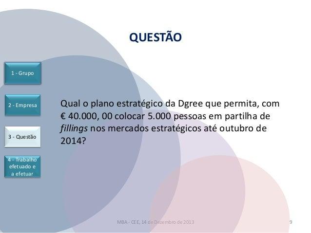 QUESTÃO 1 - Grupo  2 - Empresa  3 - Questão  Qual o plano estratégico da Dgree que permita, com € 40.000, 00 colocar 5.000...